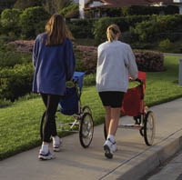 Picture of two mothers walking with jogging strollers